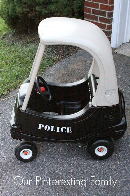 A consignment sale find with some plastic spray paint made this car into a fun police version.