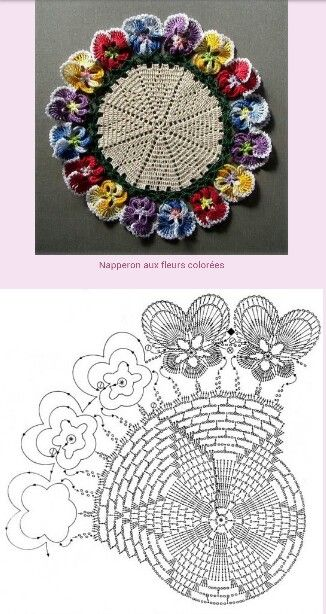 Colorful Pansy doily