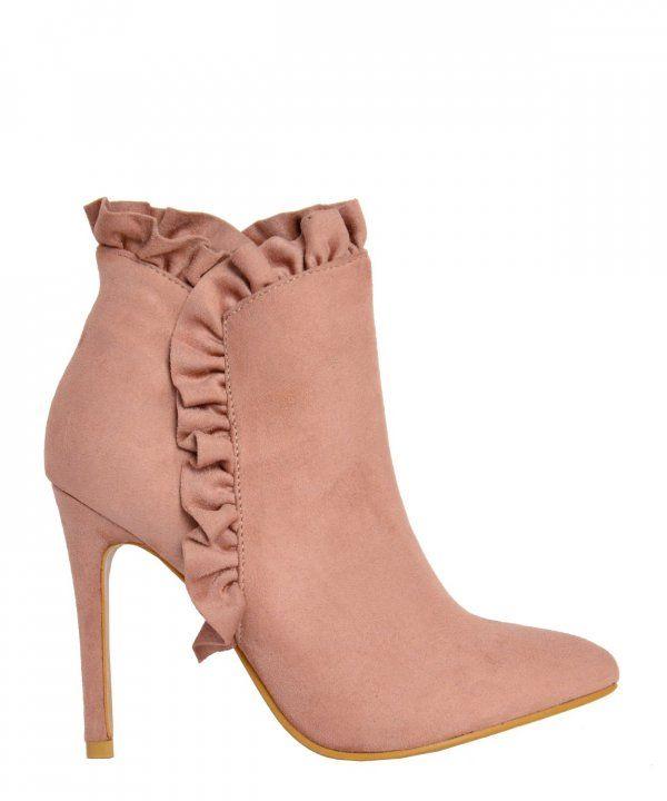 Γυναικεία μυτερά μποτάκια ροζ με λεπτό τακούνι KH295 #torouxo #γυναικειαπαπουτσια