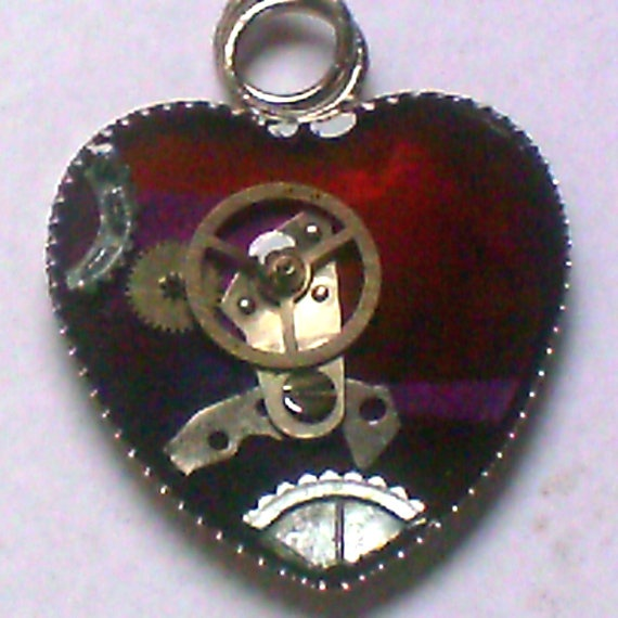 Red & Purple Steampunk Heart Resin Pendant by ElementalKarma, $8.00Resins Pendants, Steampunk Heart, Handcrafted Jewelry, Elements Karma, Heart Resins, Etsy Treasure, Purple Steampunk