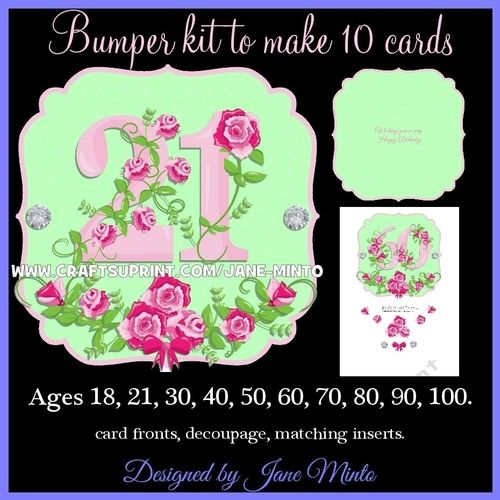 """This bumper kit contains 13 A4 sheets to make 10 cards.  The card fronts are 6x6"""", there's some decoupage and 3 matching inserts.  ages are, 18, 21, 30, 40, 50, 60, 70, 80, 90, 100.  Inserts say Happy Birthday. Wishing you a very Happy Birthday. And there's a blank one too."""