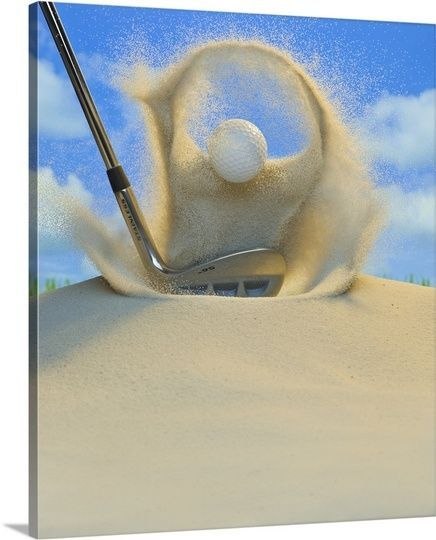 Premium Thick-Wrap Canvas Wall Art entitled Sand wedge hitting a golf ball out #GreatBIGCanvas #Modernism
