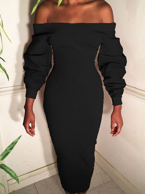 Ruched Puff Sleeve Off Shoulder Bodycon Dress Dresses Dresses