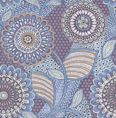 Retro Flower Royal Blue (341508) - Eijffinger Wallpapers - A Retro inspired wallcovering featuring a large scale floral trail. Shown here in various shades of royal blue, grey and white. Other colourways are available. Please request a sample for a true colour match. Search: Retro.