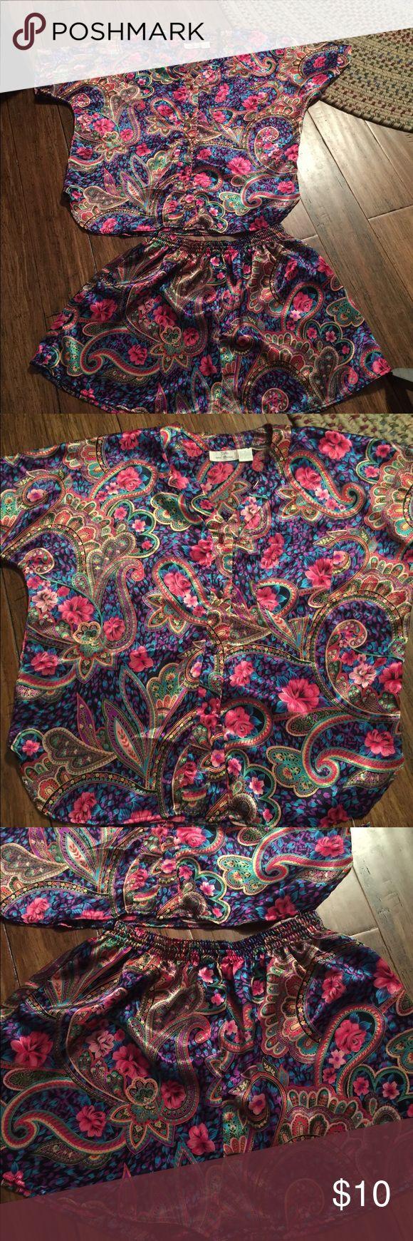 Satin and Beaux Pajamas Short Set Size M Pre Owned Satin and Beaux Pajama Short Set Size M Very Cute Intimates & Sleepwear Pajamas