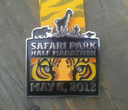 Here is the finisher's medal from the Safari Park Half Marathon that took place on May 6, 2012 in San Diego, California at the San Diego Zoo. This is a very cool and beautiful medal from a fun race through the zoo. Check out Lisa's Race Report on this race over at her blog (HERE). …