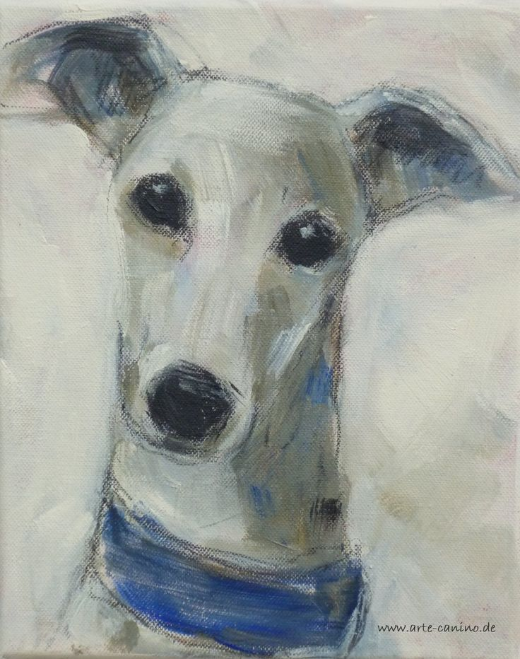 Whippet, mixed media on canvas, arist: Claudia Gaede