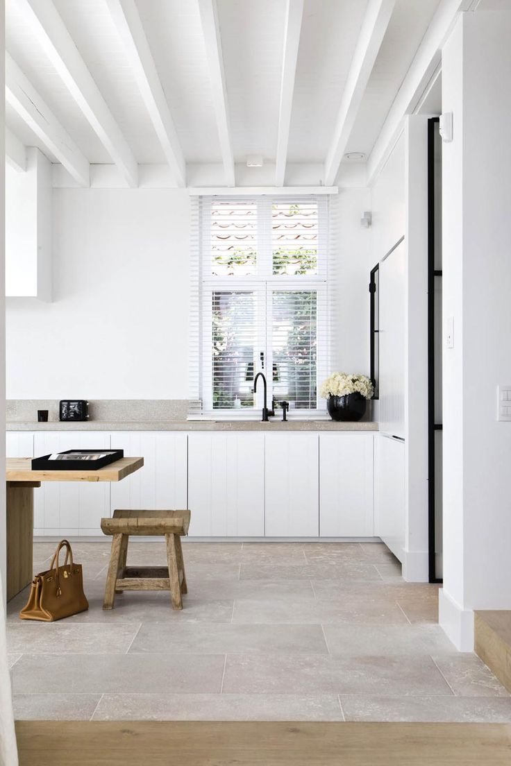 The epitome of contemporary cool for a kitchen ... white, white and more white, oh and a few natural materials for good measure (and wonderful design aesthetic).