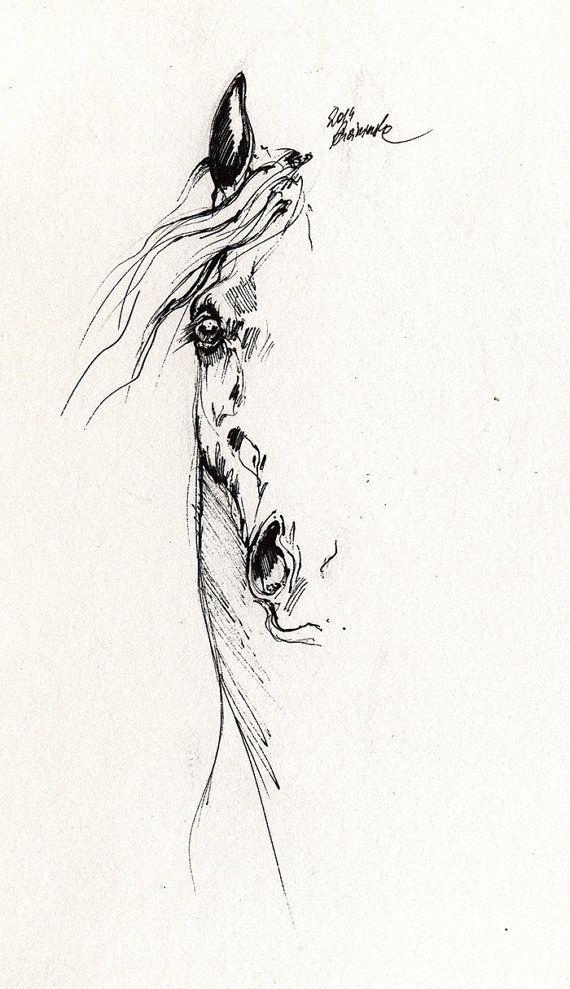 Arabian horse authentic pen drawing by AngelHorses on Etsy