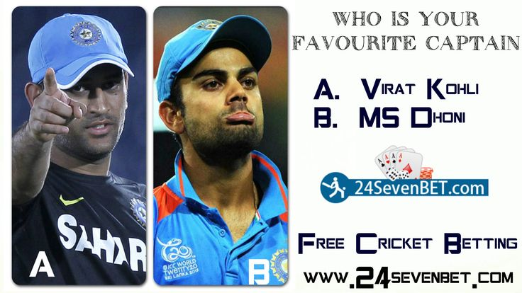 Vote For Your Favourite Indian #cricket Team Captain  A. Viat Kohli      B.  MS Dhoni  India's Best #Online Sports Betting Site Place #Free Bet and Win #Prizes online at 24sevenbet