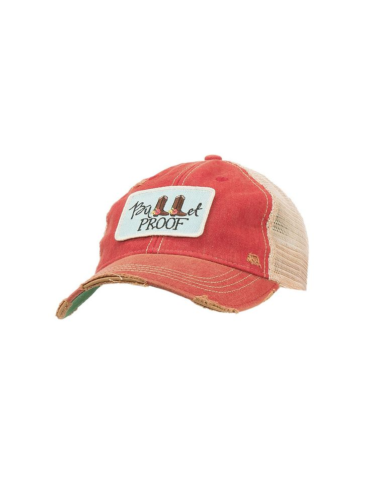 Judith March Distressed Red Bullet Proof Mesh Back Snap Back Cap | Cavender's
