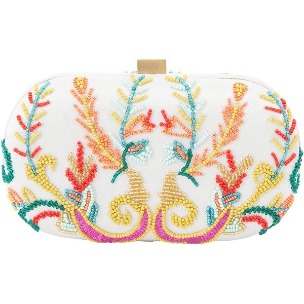Santi Beaded Oval Clutch (€205) via Polyvore featuring bags, handbags, clutches, multi, santi clutches, white clutches, magnetic purse, white purse and santi purse
