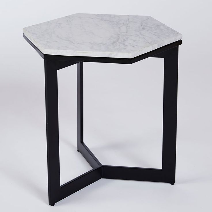 Rebecca Hex Side Table- Black Steel Base with Carrara Marble Top | Urban Couture - Designer Homewares & Furniture Online