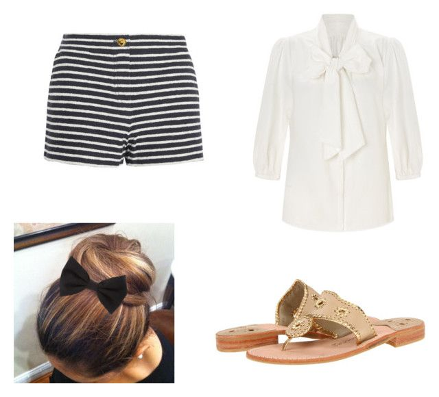 """""""Striped shorts+ black bow + gold jack rogers+ white blousse"""" by lajla24 ❤ liked on Polyvore featuring Tory Burch, Somerset by Alice Temperley, Jack Rogers and Forever 21"""