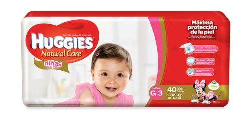 Huggies Natural Care Girls G/3 Mega Pack 40 unidades .
