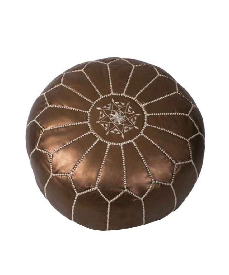 Bronze Leather Pouf