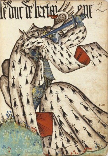 Duc de Bretagne (Grand Armorial de la Toison d'or)-Anonymous-Grand armorial équestre de la Toison d'or,Bibliothèque de l'Arsenal,Réserve,MS 4790 (RES-MS-4790), fol. 69 John VI,Duke of Brittany (1389-1442), Grand armorial équestre de la Toison d'or.between circa 1431 and circa 1440 ?