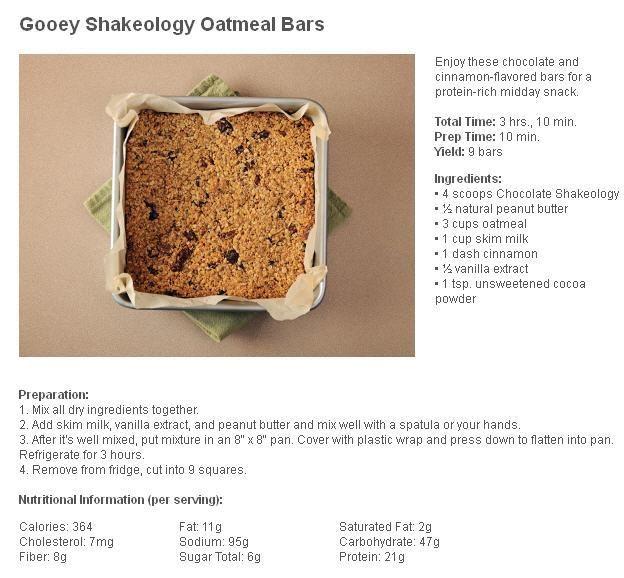 Gooey Shakeology Oatmeal Bars