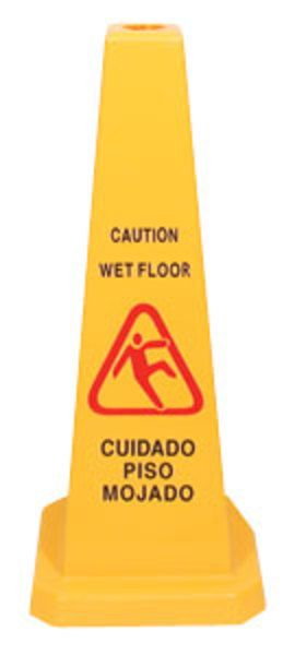 cone safety wet floor sign is important for sign the caution and the people can watch, in in the place they can cross. The cone caution we avoid accidents in the wet floors, this janitorial supplies is color bright yellow, we can found in our website. Remember always you mops, always put a wet floor caution cone.