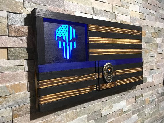 Extra Large Rustic American Flag Challenge Coin Display THIN BLUE LINE