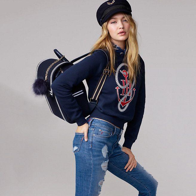 Tommy Hilfiger Katoenen Sweater Met Anker Gigi Hadid - navy blazer - Tommy Hilfiger Sweatshirts - detailbeeld 1