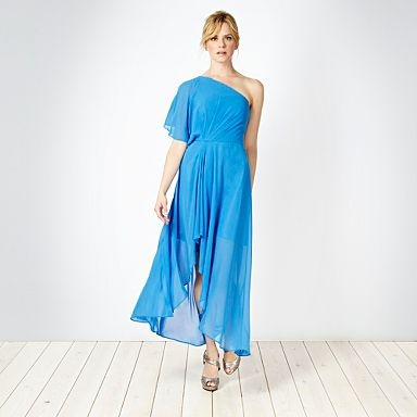 Bright blue asymmetric one shoulder maxi dress