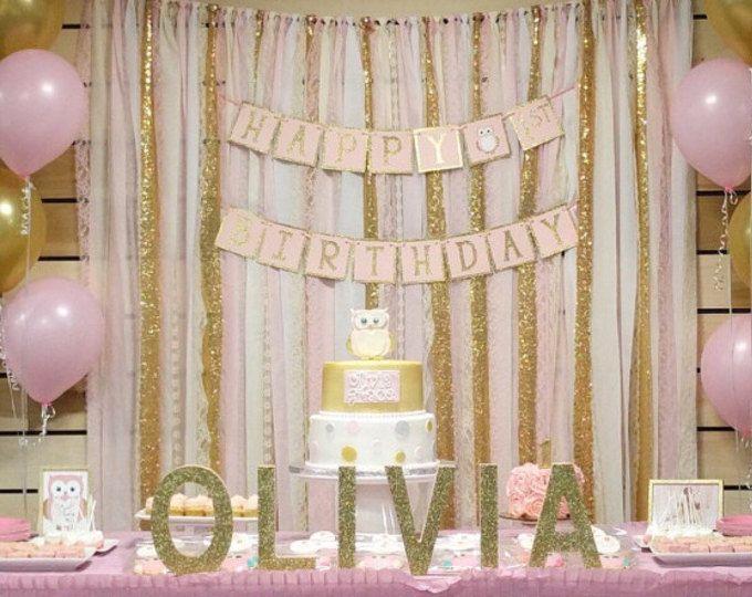 Blush rosa y oro como telón de fondo de Garland - cumpleaños, babyshower, boda... Tela, lentejuelas y encajes - decoración