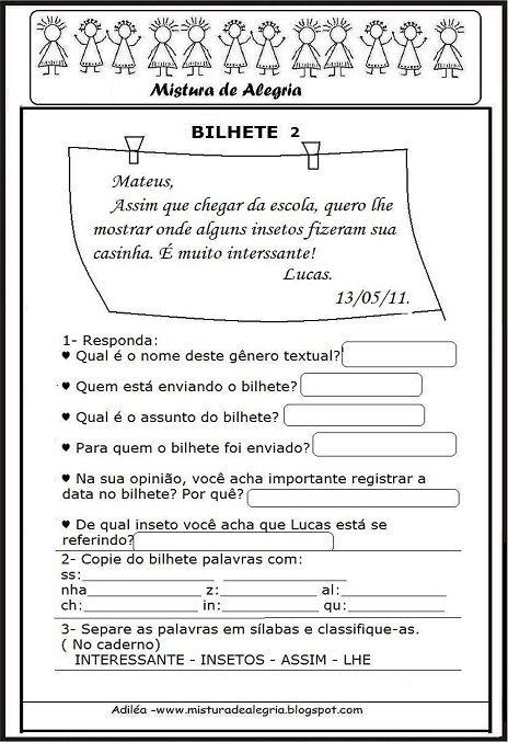 TRABALHANDO COM BILHETES EM SALA DE AULA, BILHETES, IMPRIMIR, RECORTAR-Mistura de Alegria