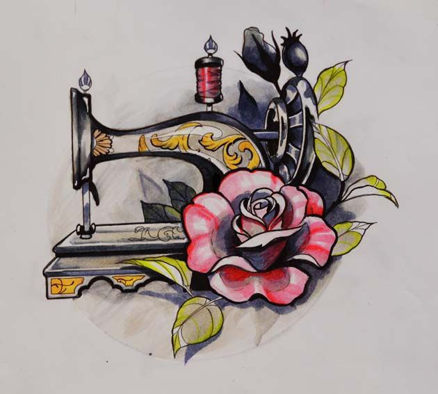 Vintage sewing machine drawing > hand tattoo idea