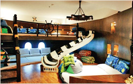 Pirate room.  Oh yeah. this would be so much fun as a child - -in fact forget the kids.... this would be a cool room PERIOD!
