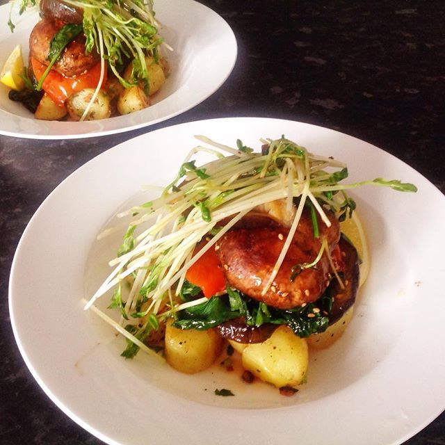 #evelittlekitchen : eggplant salad wiz field mushroom & snowpea