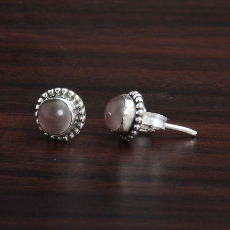 Rose Quartz 925 SOLID STERLING SILVER FANCY TOPS EARRING 1.06g DJER4115 #Handmade #EARRING