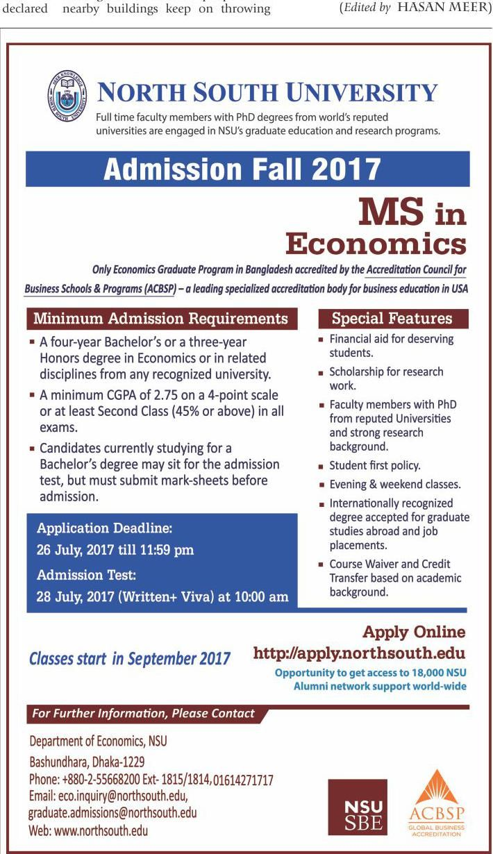 Admission Going On MS in Economics At North South University
