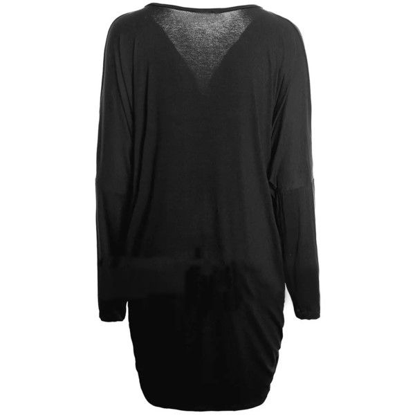 LUCLUC Black Deep V-Neck Batwing Long Sleeve Baggy T-shirt (27 CAD) ❤ liked on Polyvore featuring tops, t-shirts, lucluc, low v neck tops, long sleeve batwing top, long sleeve t shirts, deep v neck tee and long sleeve tops