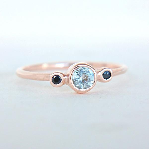 Aquamarine and Blue Sapphire Ring 14k Rose Gold – Manari Design