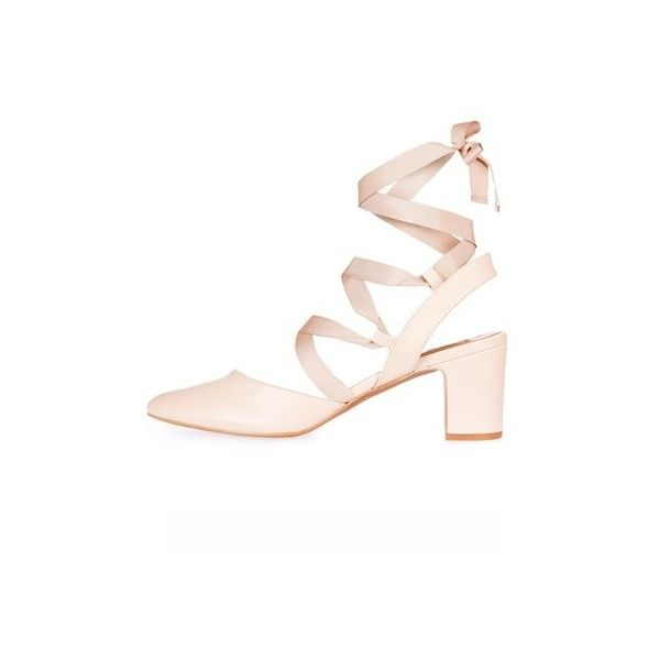 TopShop Jostle Mid Tie Block Heeled Ballet Pumps ($90) ❤ liked on Polyvore featuring shoes, pumps, nude, ballerina shoes, topshop shoes, leather ballet shoes, nude ballet shoes and nude pumps