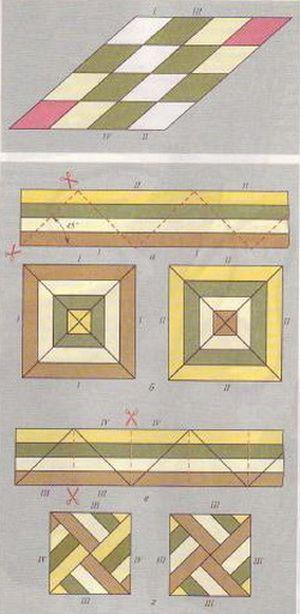 Fig.  6. Montaje patrón romboidal (arriba).  Montaje de las piezas triangulares y utilizarlos en bloques de patchwork (abajo)
