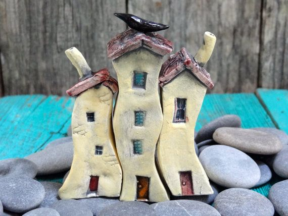 from www.thecherryheart.etsy.com Row of wonky houses- mini village- OOAK porcelain mini house- handmade ceramic miniature