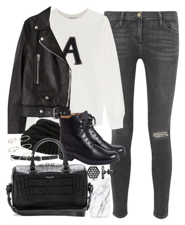 """""""Outfit for winter with black leather boots and jacket"""" by ferned on Polyvore featuring Frame, AG Adriano Goldschmied, Acne Studios, Leith, Forever 21, Yves Saint Laurent and Simply Vera"""