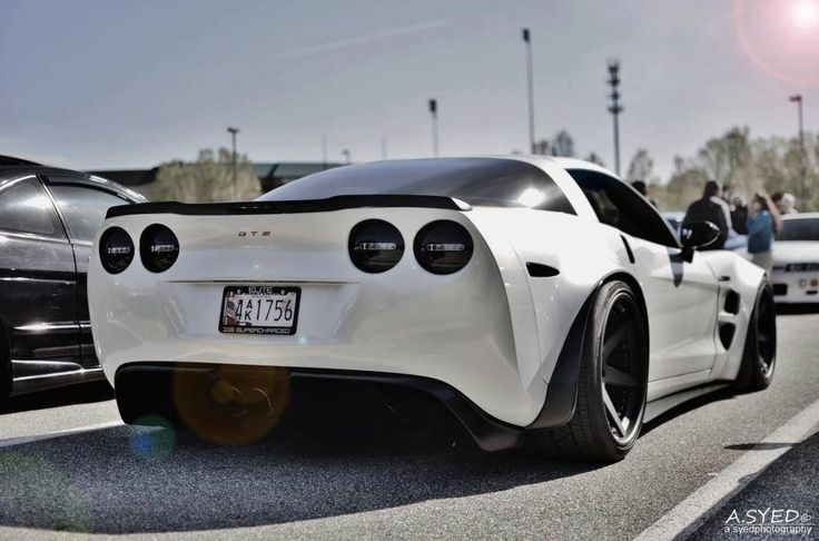 C6 Corvette White & Black /Low & Wide ; just right http://extreme-modified.com/