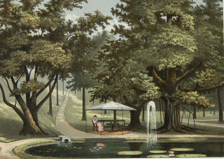 Josias Cornelis Rappard - Danau dengan air mancur di Kebun Raya Bogor