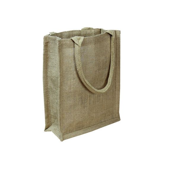 "Natural Burlap Shopping Tote Bags 9"" x 11"" x 4"" - Eco Friendly Burlap Gift Bags, Rustic Wedding Favors, Wholesale Gusset Jute Favor Bags"