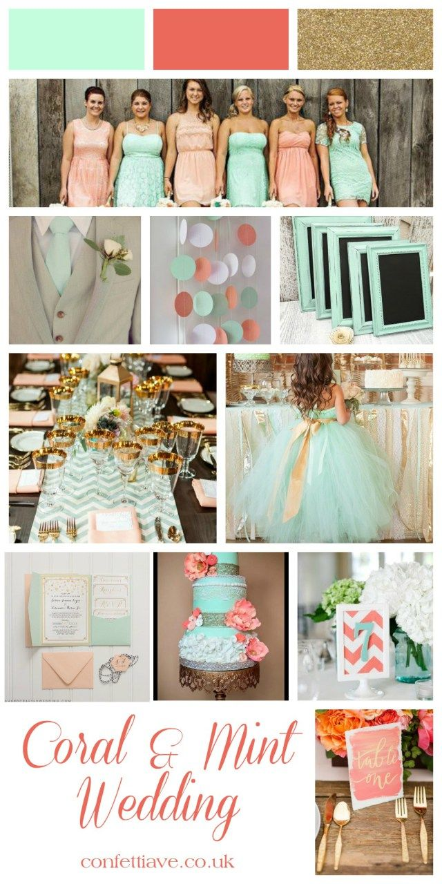 coral and mint wedding mood board