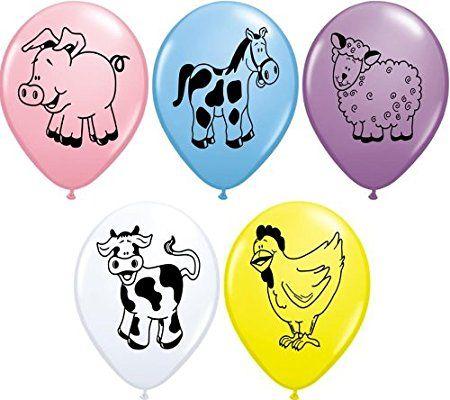 Luftballons, verschiedene Bauernhoftiere, Party/Geburtstag,27,9cm (Huhn/Kuh/Schaf/Schwein/Pferd), 10 Stück