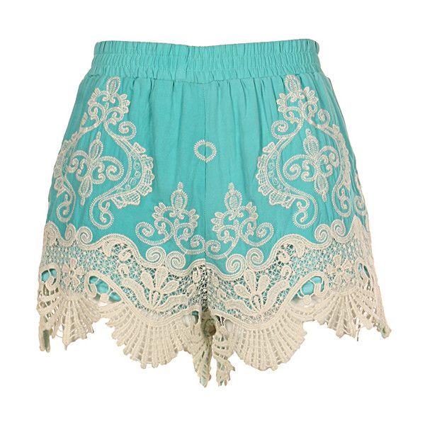 Fashionomics Mint Crochet Shorts ($20) ❤ liked on Polyvore featuring shorts, mint green shorts, mint shorts, cotton shorts, crochet shorts and macrame shorts