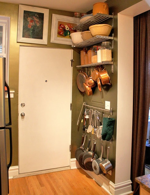 Behind the door, using bare wall for storage | Perhaps our only Kitchen solution.