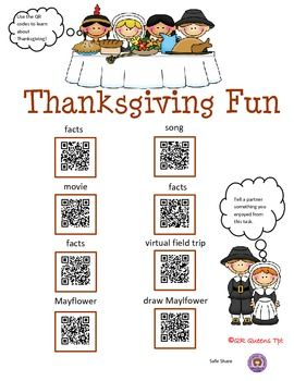 THANKSGIVING AND TURKEY FUN USING QR CODES - K-2 $