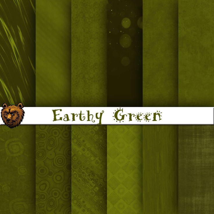 Green digital paper, green background, green scrapbook by BearsDenDigitalArts on Etsy