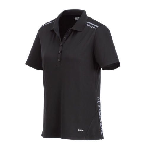 Men's Performance Polo. 100% Micro polyester textured knit with wicking finish. Features flat knit collar. Honda logo heat transferred in white on left shoulder and left bottom hem.