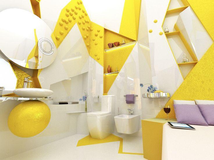 Home Yellow White Open Plan Ensuite Bathroom Idea